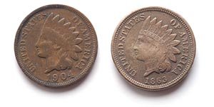 1863 Indian Head cent front