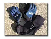 NRS gloves and neoprene booties