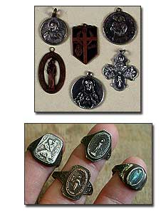 Vintage Silver Catholic Medals - Sterling Religious Rings